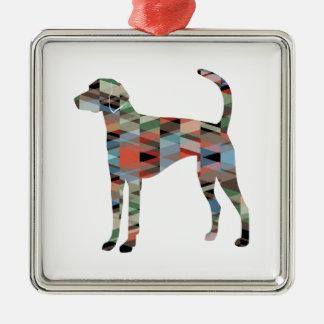 American Foxhound Dog Geo Pattern Silhouette Plaid Metal Ornament