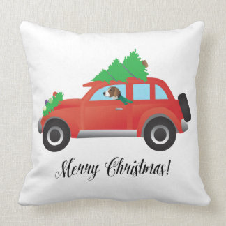 American Foxhound Driving Car with Christmas Tree Cushion