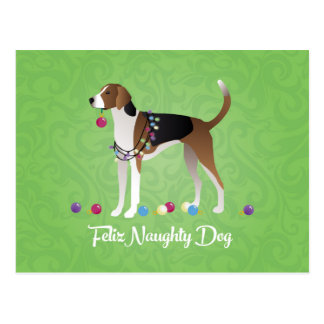 American Foxhound Feliz Naughty Dog Christmas Postcard