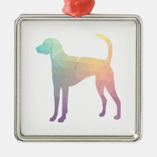 American Foxhound Geo Pattern Silhouette Pastel Metal Ornament