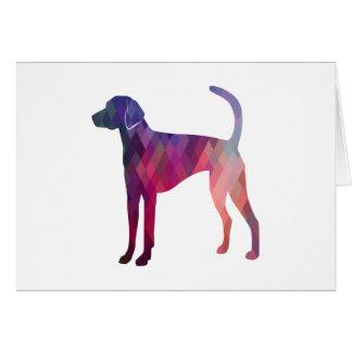 American Foxhound Geo Pattern Silhouette Pink Card