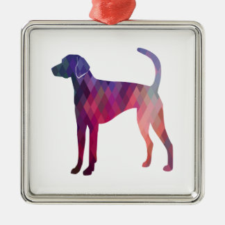 American Foxhound Geo Pattern Silhouette Pink Metal Ornament