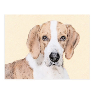 American Foxhound Painting - Cute Original Dog Art Postcard