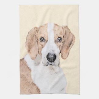 American Foxhound Painting - Cute Original Dog Art Tea Towel