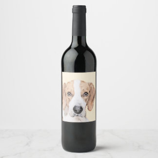 American Foxhound Painting - Cute Original Dog Art Wine Label