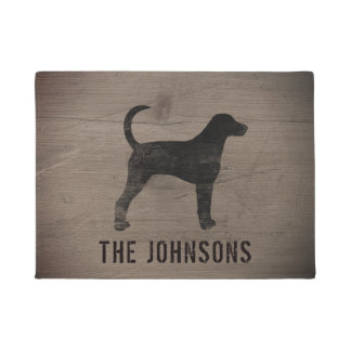 American Foxhound Silhouette Personalized Doormat
