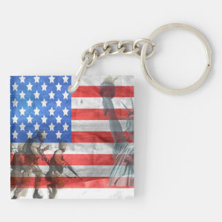American Freedom Double-Sided Square Acrylic Key Ring