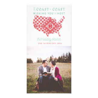 American From Coast to Coast Christmas Photo Card