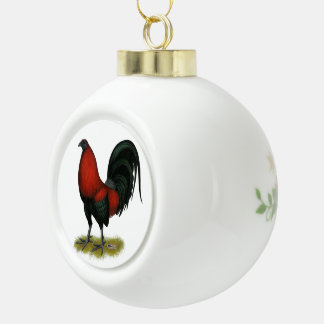 American Game BB Black Red Rooster Ceramic Ball Decoration