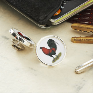 American Game BB Black Red Rooster Lapel Pin