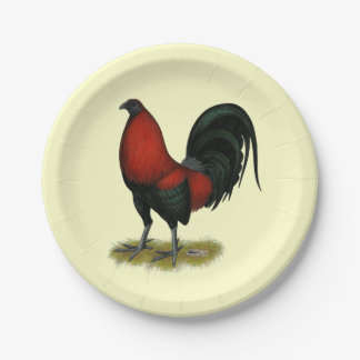 American Game BB Black Red Rooster Paper Plate