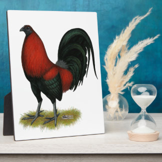 American Game BB Black Red Rooster Plaque