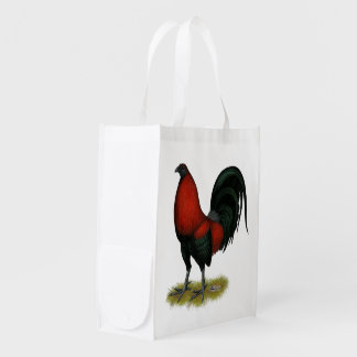 American Game BB Black Red Rooster Reusable Grocery Bag
