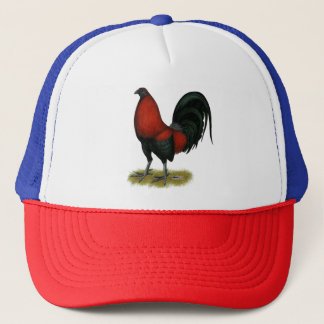 American Game BB Black Red Rooster Trucker Hat