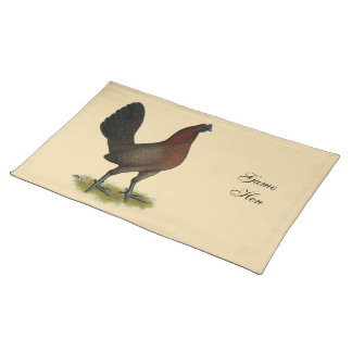 American Game Black Red Hen Placemat