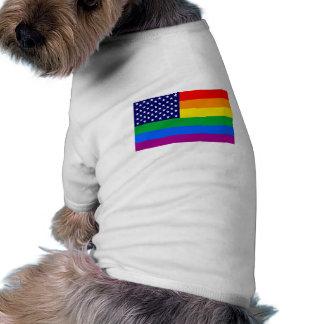 American Gay Pride Flag - Gaymerican Pride Flag Pet Tshirt