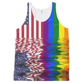 American & Gay Pride Flags All-Over Print Singlet