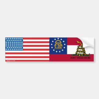 American & Georgia Gadsden Flag Bumper Sticker