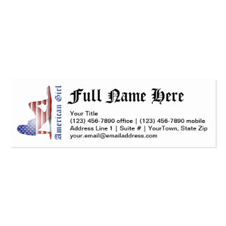 American Girl Silhouette Flag Business Card