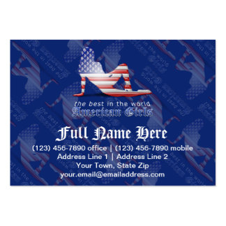 American Girl Silhouette Flag Business Cards