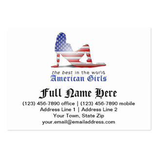 American Girl Silhouette Flag Business Card Templates