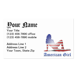 American Girl Silhouette Flag Business Card Template
