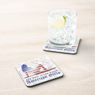 American Girl Silhouette Flag Coaster