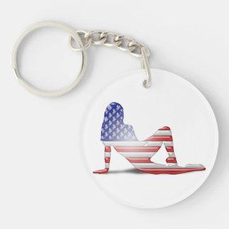 American Girl Silhouette Flag Key Chain