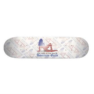 American Girl Silhouette Flag Skate Board