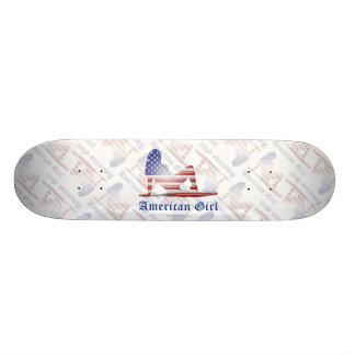 American Girl Silhouette Flag Skate Board Deck