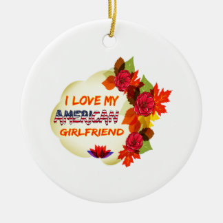 American Girlfriend designs Double-Sided Ceramic Round Christmas Ornament