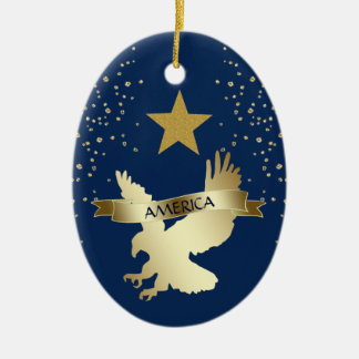 American Gold Star Eagle Ceramic Ornament