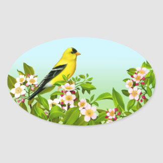 American Goldfinch in Apple Blossoms Oval Sticker