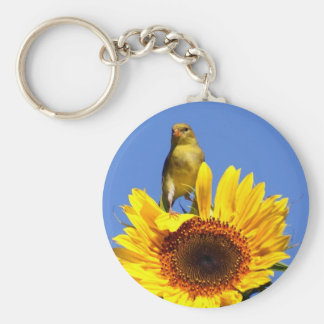 American Goldfinch on Sunflower Key Ring