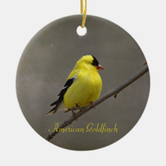 American Goldfinch Photography Round Ceramic Ornament