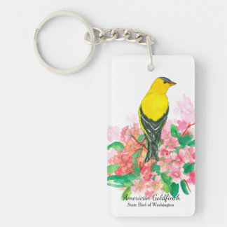 American Goldfinch Pink Rhododendron Key Ring