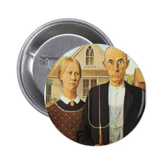 American Gothic by Grant Wood,reproduction art, 2 Inch Round Button