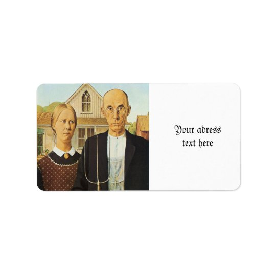 American Gothic by Grant Wood,reproduction art,vin Address Label