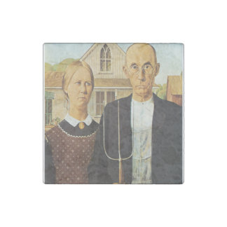 American Gothic by Grant Wood,reproduction art,vin Stone Magnet