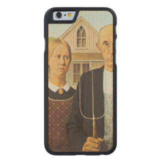 American Gothic by Grant Wood,reproduction art,vin Carved® Maple iPhone 6 Slim Case