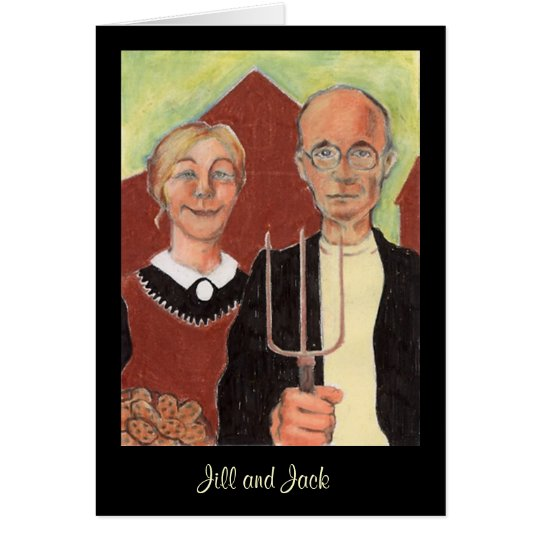 American Gothic couple Valentine Card Personalise