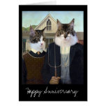 American Gothic funny Cat anniversary