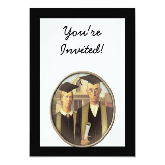 American Gothic Graduation Cameo on Black 13 Cm X 18 Cm Invitation Card