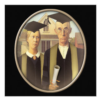American Gothic Graduation Cameo on Black Personalized Announcements