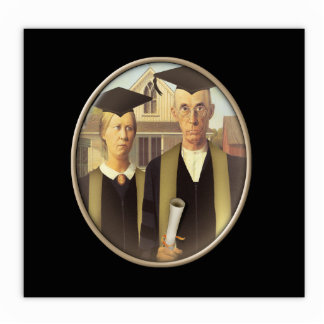 American Gothic Graduation Cameo on Black Standing Photo Sculpture