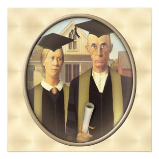 American Gothic Graduation Cameo on Gold Sheen Announcements