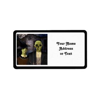 American Gothic Halloween Address Label