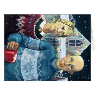 American gothic - winter parody big greeting card