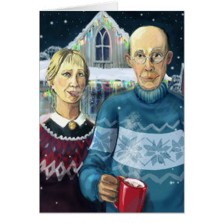 American gothic - winter parody greeting card