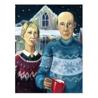 American gothic - winter parody postcard